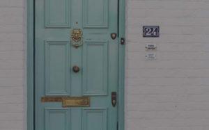 Aqua Door with Brass Lion Door Knocker